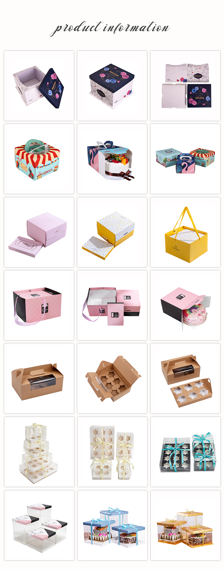 Different Design Cheaper Direct Factory Custom Clear Window Box for Birthday Paper Cake Box