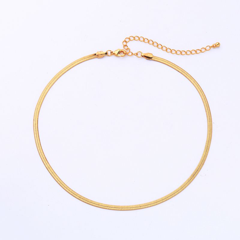 2020i Gold Plated Simple Flat Snake Chain Choker Necklace
