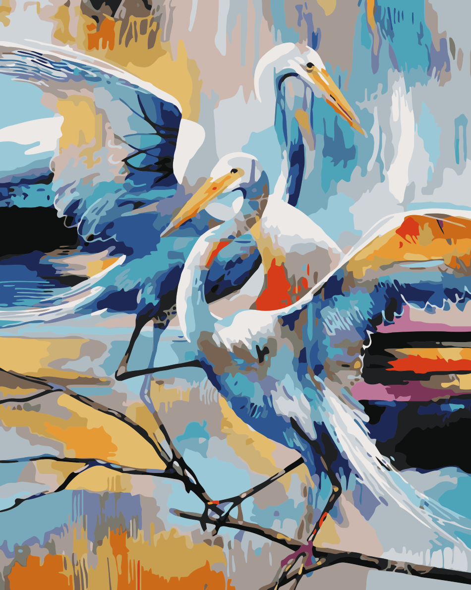 Wholesale Popular Newest Design Acrylic animal egret oil painting artist for home Wall Decor