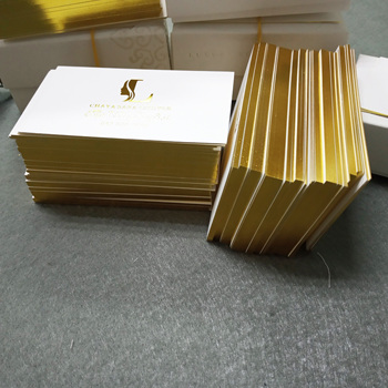 Customized luxury shiny gold foil/matte edge paper business card