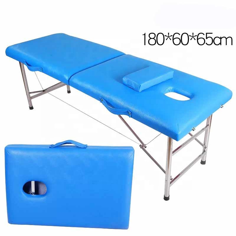 High Quality Portable Cheap 2 Section Salon beauty bed Foldable tattoo bed Aluminum facial Massage bed