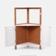 2019 good quality triangle shape decorative bamboo wooden living room corner shelf cabinet