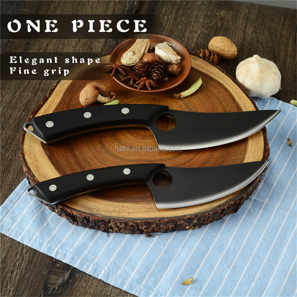 "6 inch Hollow Design Boning Kitchen Knife Fish Fillet Outdoor Stainless Steel 5"" Black Serbian Curved Boning Knife"