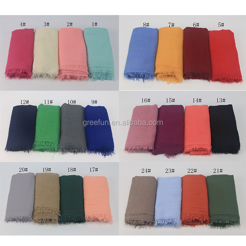 2019 Fashion Design Cheap Cotton Women girl Hijab malaysia Muslim Solid colors crinkle Scarf Hijab