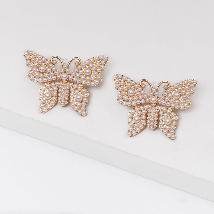 Cute Girl Creative Aretes Gold Plated Insect Earring Pearl And Multi Colors Rhinestone Butterfly Stud Earrings