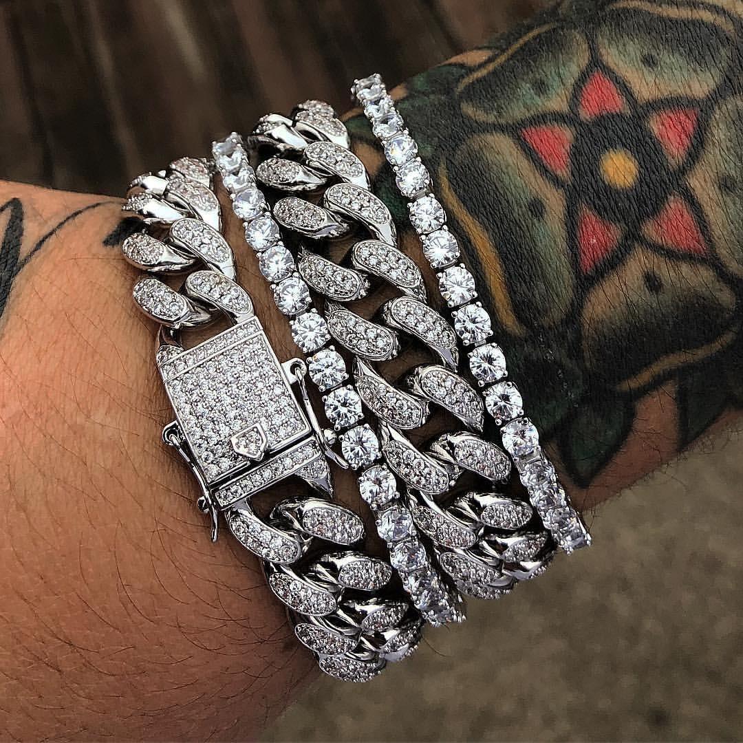 Men/'s  Iced Link Bracelets