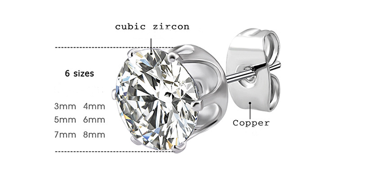 Korean Gold Solid Cubic Zirconia Small 6 Pair Stud Earrings Set for Women