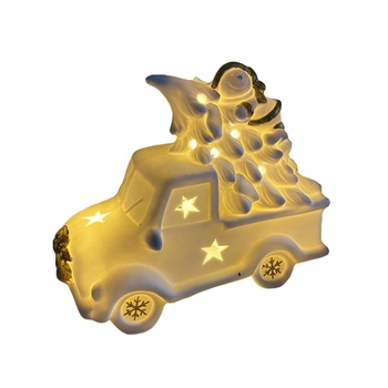 Christmas Decoration Lighted Ceramic vintage truck car and ceramic Christmas Tree night light