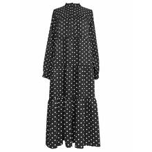 Женское платье с принтом EAM, черное платье большого размера с воротником-стойкой и длинным рукавом, весенне-Осенняя мода 2020 1N659(Китай)