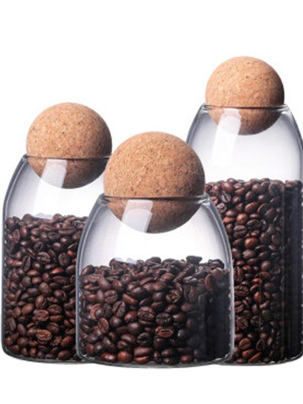 Fatti A Mano di Vendita calda di Vetro Borosilicato Contenitore di Conservazione Degli Alimenti Vasi con Coperchio In Legno Palla di Sughero Tappo