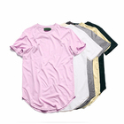simple hip-hop style curved t shirts for men