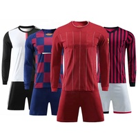 Custom Sublimation Mens Long Sleeve Soccer Jerseys Uniformes de Futbol
