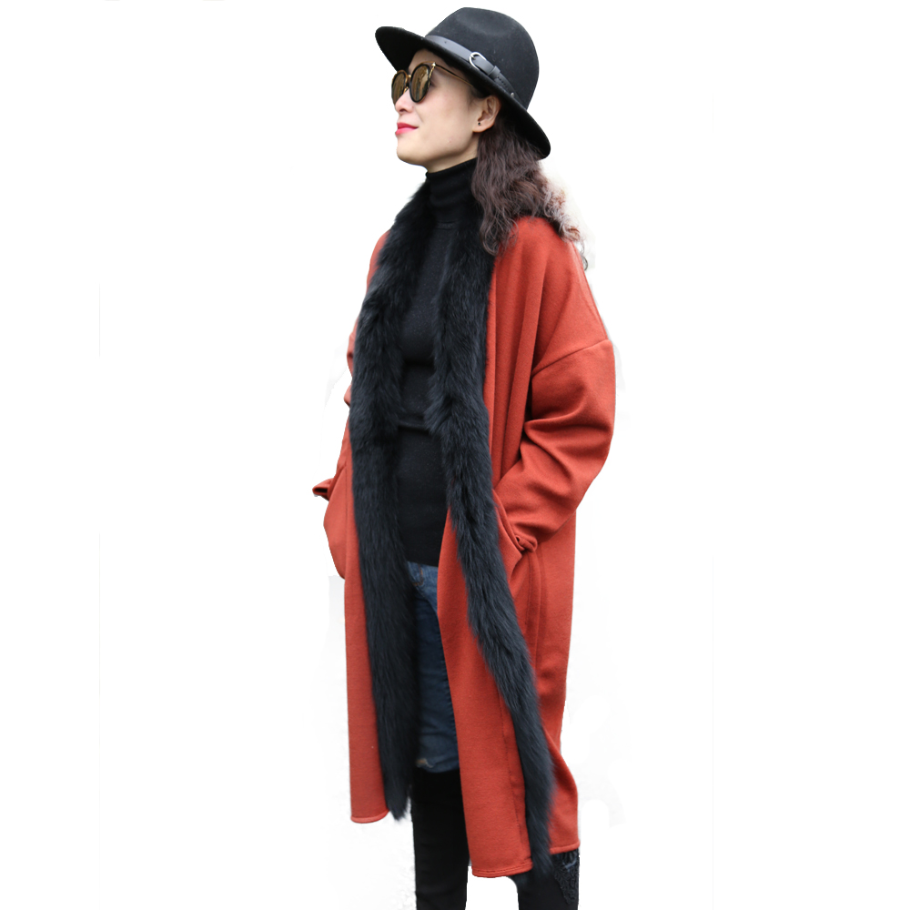 Fashionable design elegant style women winter <strong>long</strong> knit red <strong>black</strong> <strong>cardigan</strong> with fur