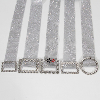 Fashion Metal Buckle Rhinestone Waist Belt for Women