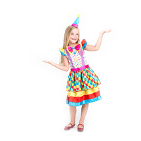Kids Fancy Clown Dress For Girl Party Funny Cosplay Halloween Carnival Professional Colorfully Clown Costume
