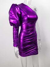 JillPeri женское сексуальное мини-платье на одно плечо с пышными рукавами, модное металлическое платье с рюшами, шикарная одежда для клуба, праз...(Китай)