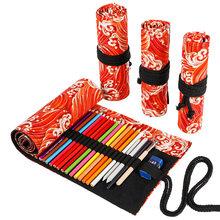 Кавайный холщовый чехол-карандаш, школьный чехол для художественных кистей с 72 отверстиями, пенальный чехол для девочек и мальчиков, милый ...(Китай)