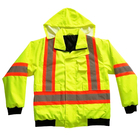 Hi Vis waterproof breathable reflective safety clothing, mens security custom reflective safety jacket