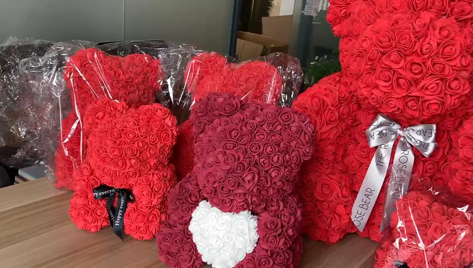 गर्म बिक्री अमेज़न कृत्रिम फूल थोक वेलेंटाइन क्रिसमस उपहार 25cm 40cm गुलाब भालू पर्ल भालू उपहार पैकेज बॉक्स