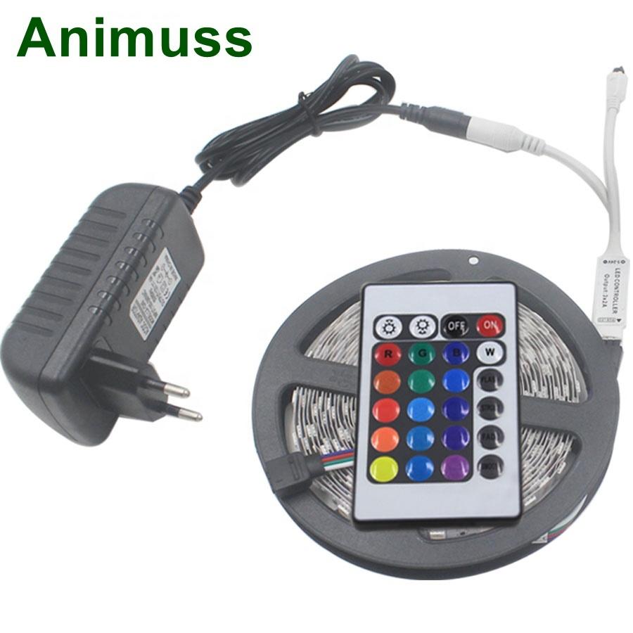 RGB LED Strip 12V 5m 5050 2835 SMD Flexible LED Tape Ribbon Waterproof Rope String Lamp Light+LED Controller+EU Adapter