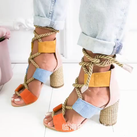 World-Win-Sandalias de tacón alto grueso para mujer, zapatos de vestir, con bomba, gran oferta, 2020