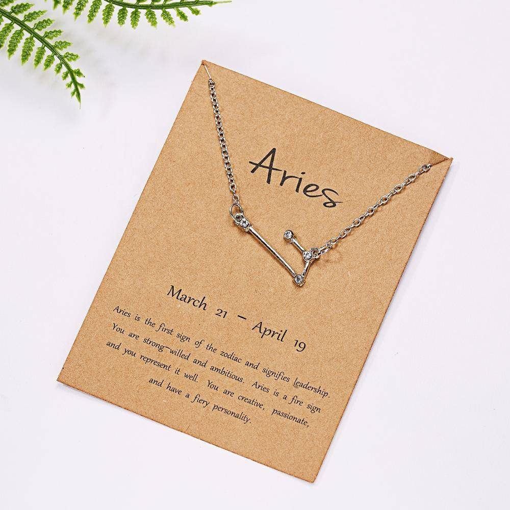 2020 Новая мода день Святого Валентина подарки 12 Зодиак серебро женщины гороскоп алмаз ожерелье ювелирные изделия