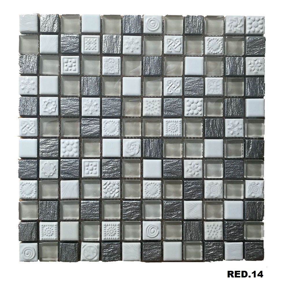 Hot selling white ceramic and glass mosaic tile for bathroom and kitchen Foshan China RED.14