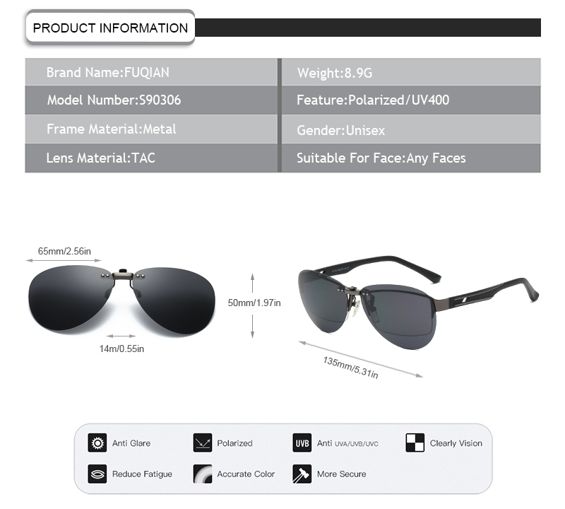 Color Film Replaceable Lens Rimless Frame Mirror Clip On Polarized Men Women Sunglasses
