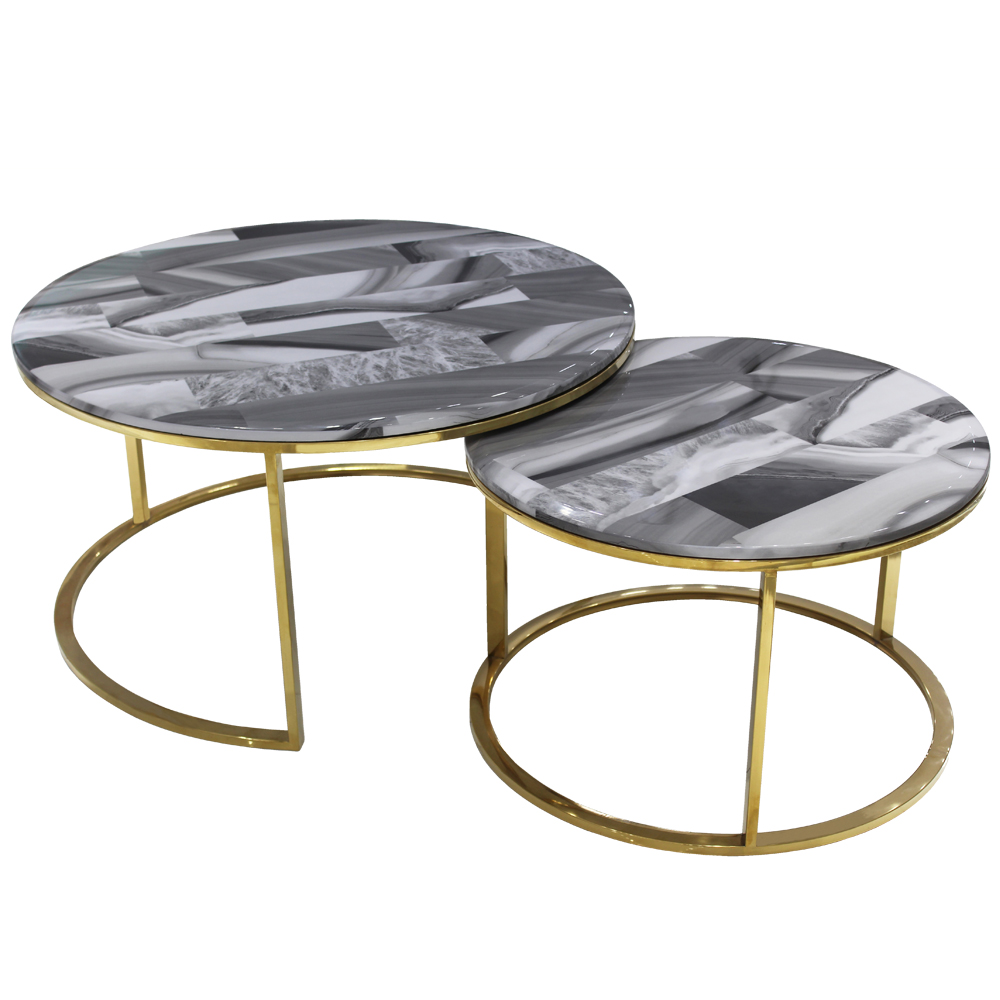 Modern dining room designer coffee tables luxury marble top dinning table gold stainless steel coffee table for home furniture