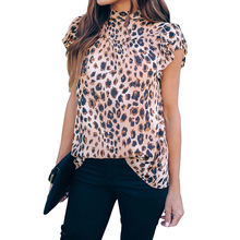 Groothandel 2020 Nieuwe Ontwerp Wild Kind Shimmer Luipaard Ruche Blouse <span class=keywords><strong>Zomer</strong></span> <span class=keywords><strong>Vrouw</strong></span> Dames