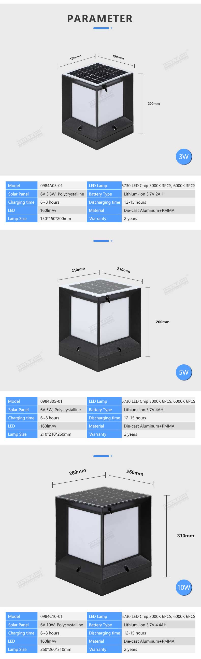 ALLTOP Modern design double light source 3w waterproof ip65 solar power outdoor garden light led