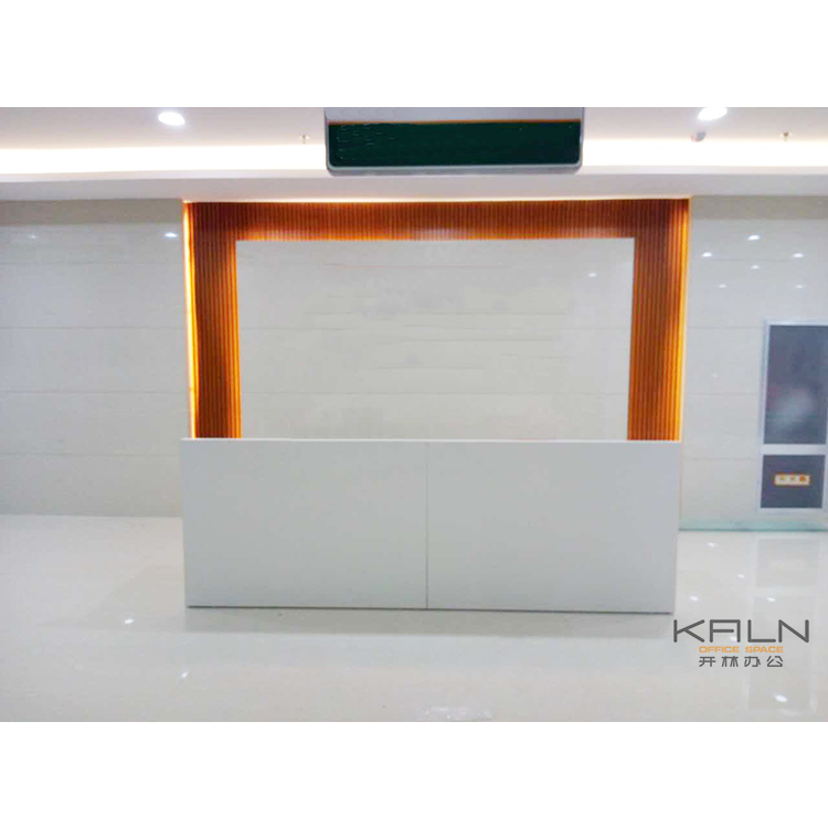 KALN factory price fashionable design veneer office furniture customized office reception desk front counter green material