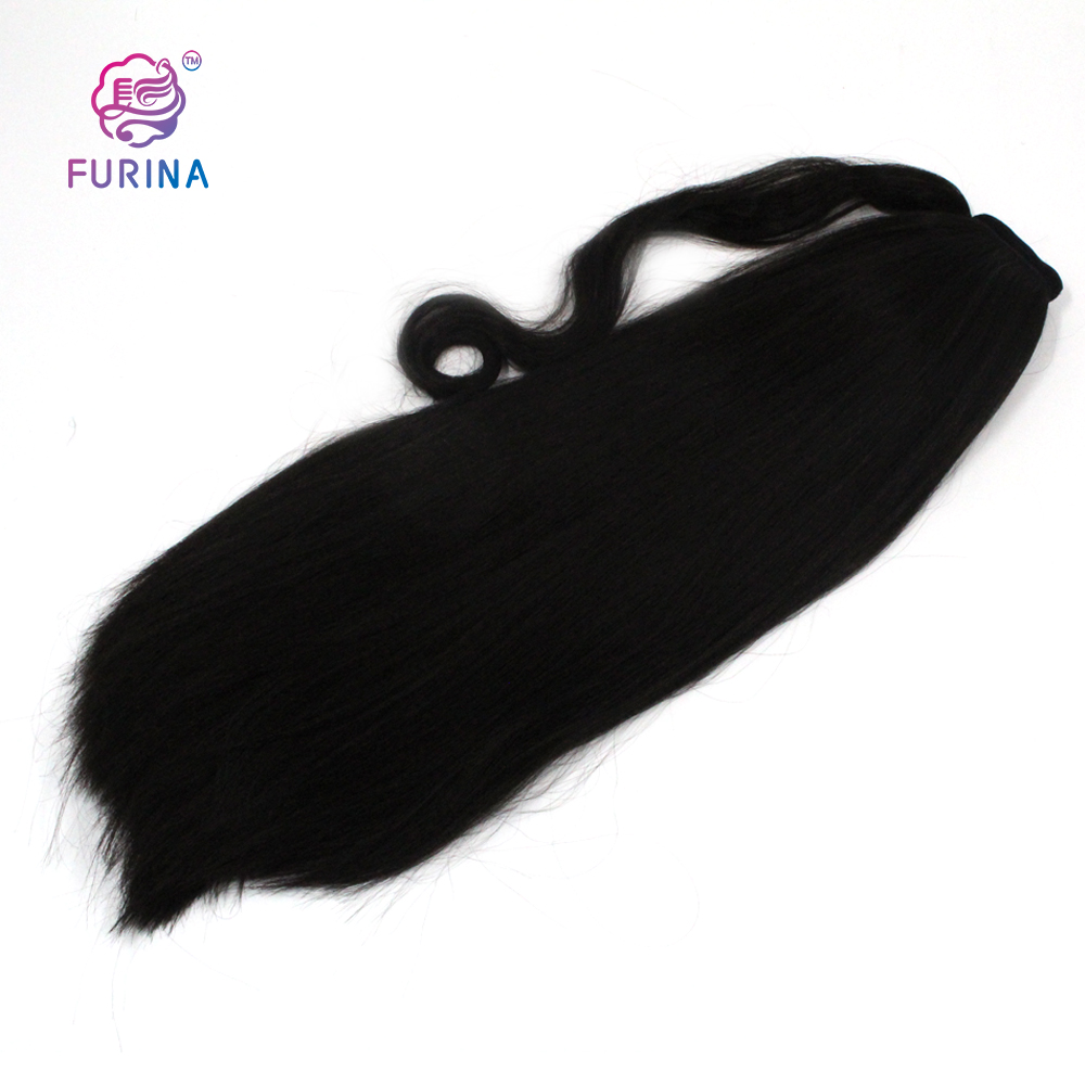 Kinky Straight Ponytail Wig Afro Ponytail Hair Bun Long Women Ponytail 22inch YAKI Synthetic Hair