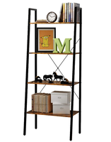 Combohome 4-Tier Industrial Vintage Ladder Shelf Bookcase Plant Stand Storage Rack
