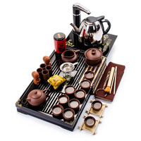 Complete Set Of Purple Sand Kung Fu Tea Set Simple Household Automatic Electric Stove Tea Solid Wood Tea Tray