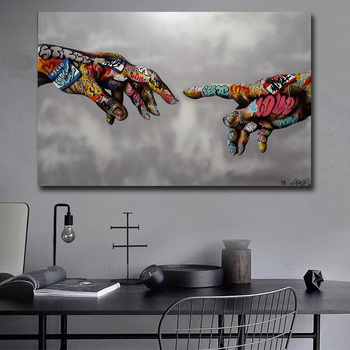SELFLESSLY Graffiti Street Art Painting Abstract Art Hand Wall Pictures For Living Room Wall Art Classic Posters and Prints