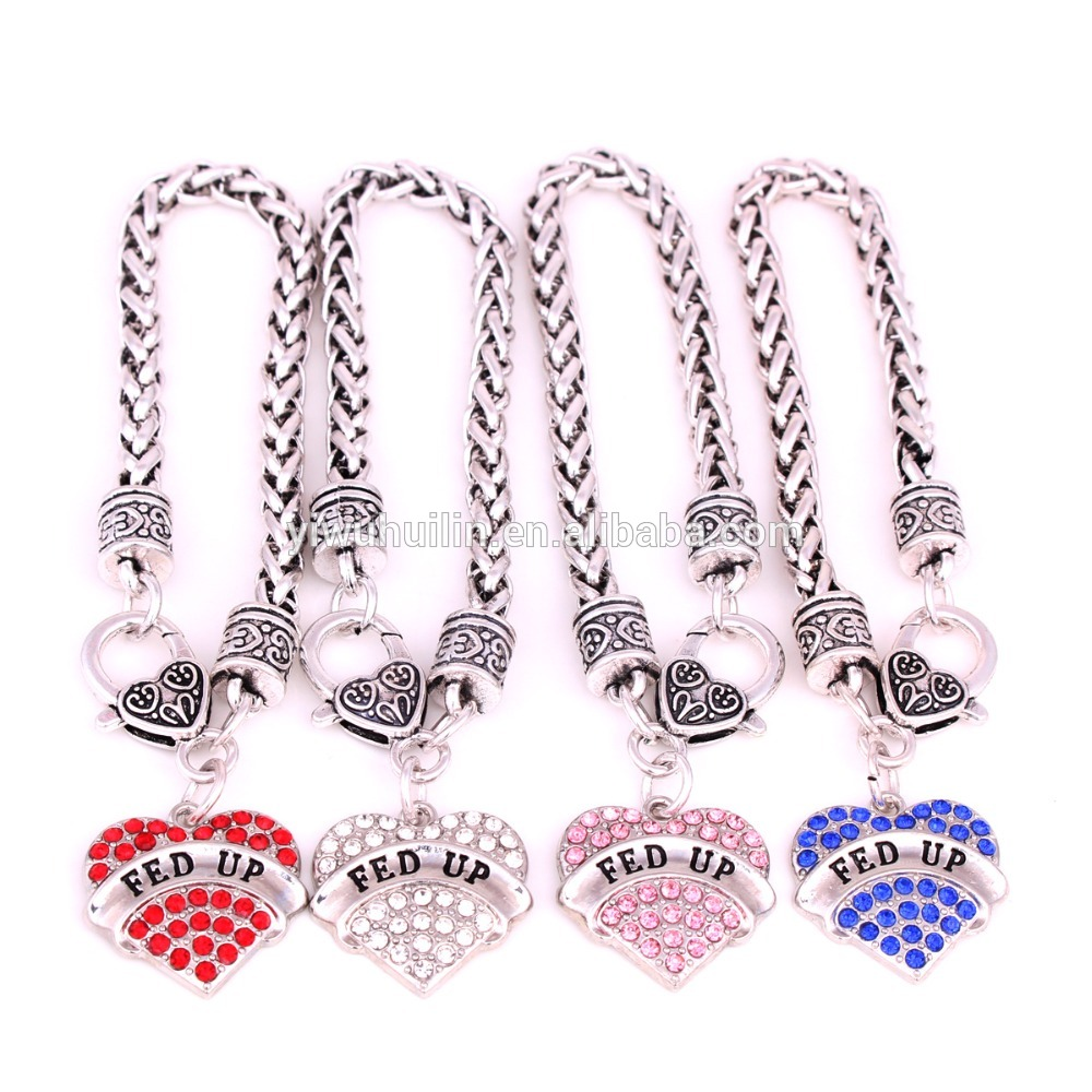silver high quality beautiful personalized with wheat link chain Crystal heart shape letter diabetic necklace
