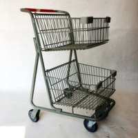 Hot selling American style double metal basket shopping cart