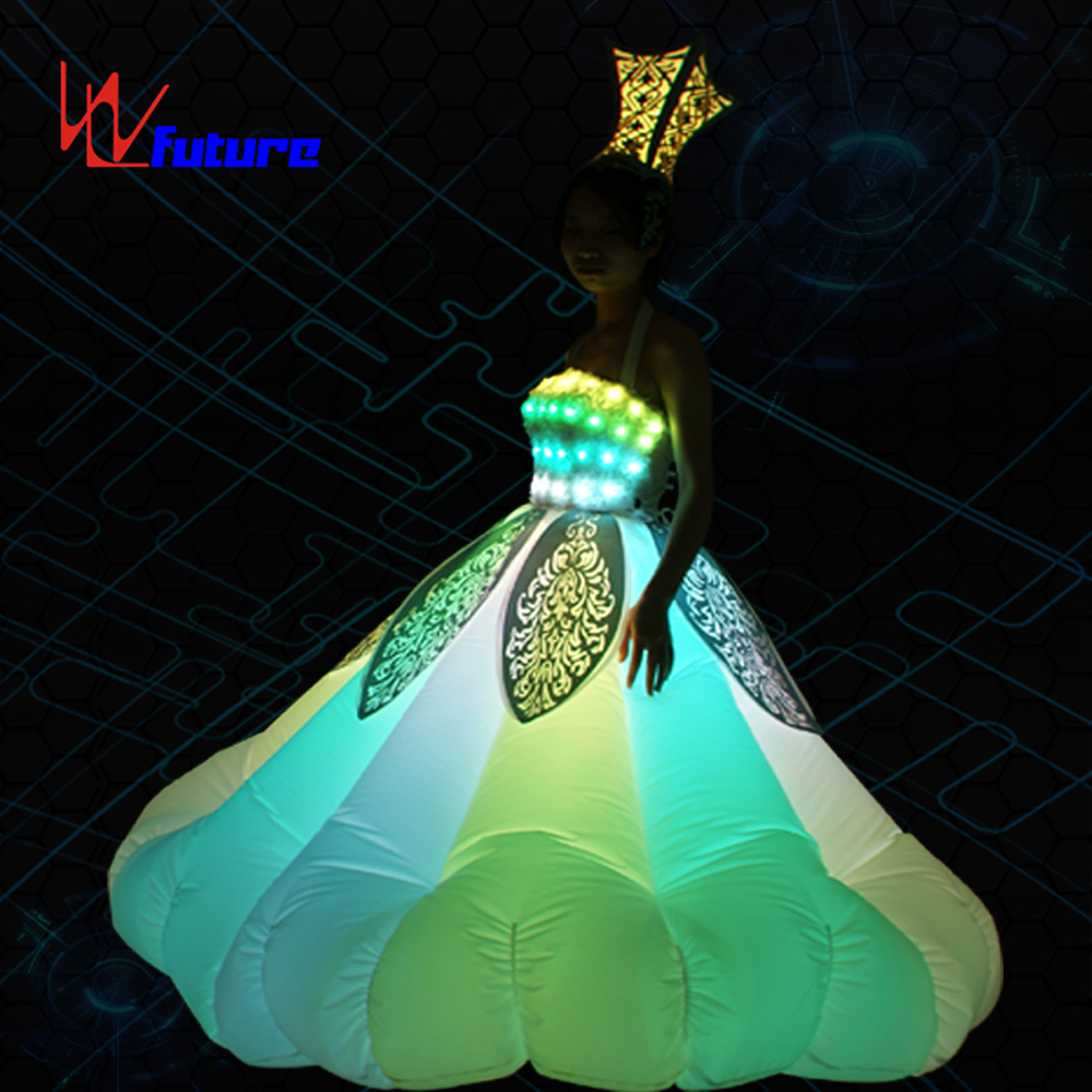 Amazing Full color LED Inflatable Dress for Stage performance, Glow in The Dark Dresses For Women