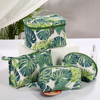 New Ladies'Cotton Canvas Creative Printed Cosmetic Bag Travel Washing Bag