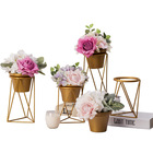 Nordic style gold color table small iron metal flower pot stand for hotel and home decor