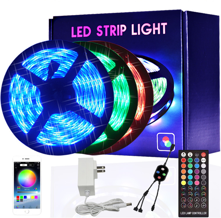 Amazon Hot Sale Smart Bluetooth Light Flexible 5050 SMD Led Strip Light 5m 10m RGB Led Strip DC12V Waterproof Led Light Strip