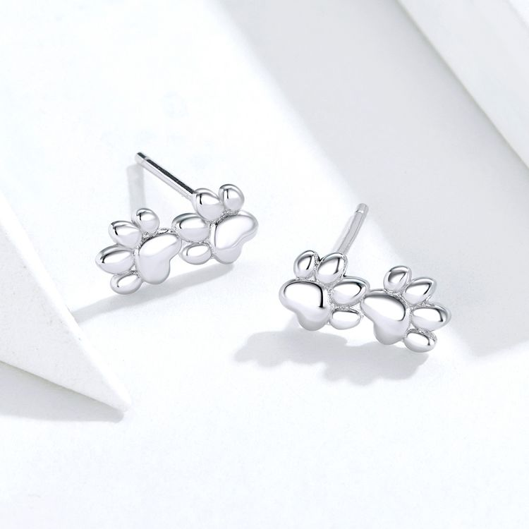 Fashion Women S925 Sterling Silver Animal Earrings Allergy Cute Cat Footprints Dog Paw Print Stud Earrings
