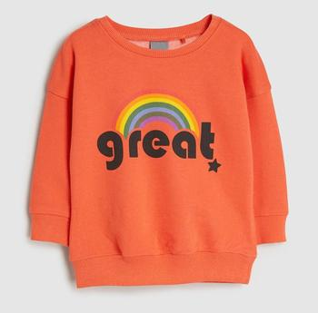 New design Autumn winter orange color rainbow printing 1-7 years baby girl kids terry sweater