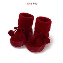 Модные зимние тапочки для малышей; Сезон осень-зима теплые носки для новорожденных хлопковые нескользящие мягкие носки для маленьких мальч...(China)