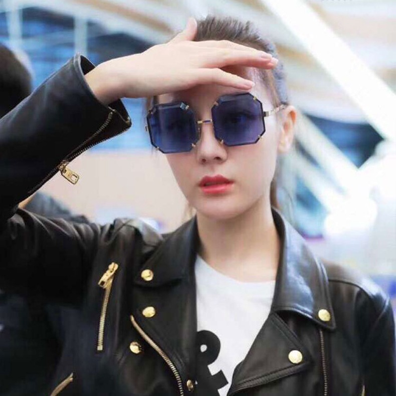 Fashion Designer Brand Sun Glasses Authentic Polygon Women Sunglasses