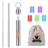 Halloween Christmas gift 8mm Black stainless steel Telescopic Straw and Drink Straw, 2020 New Style