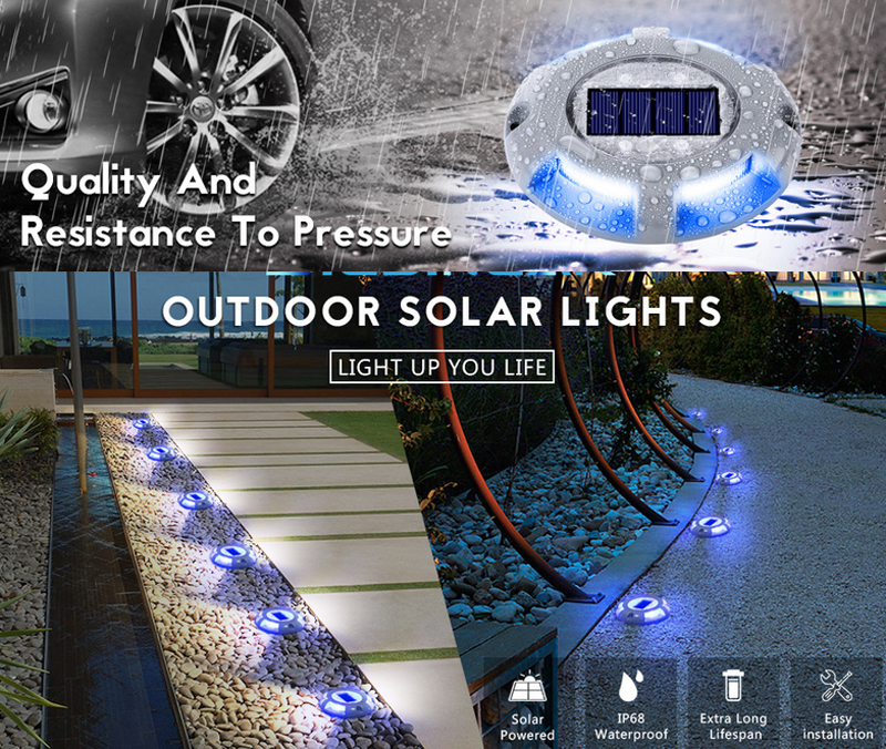 Aluminum Waterproof LED Solar Powered Road Stud Light Reflective Ground Light Path Deck Dock Warning Light Super Bright