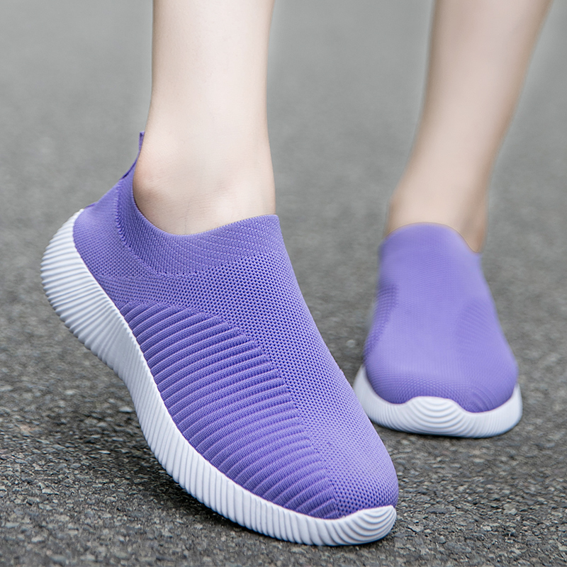Popular Women Shoes Stretch Fabric White Socks Sneakers Size 8.5 Gym Shoes Woman Zapatillas Mujer Casual Shoes Chaussures Femme