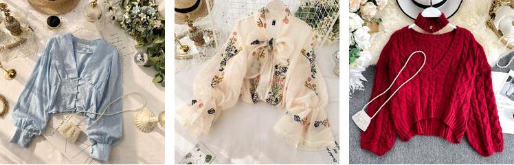 French vintage women fashion puff sleeve slim tops